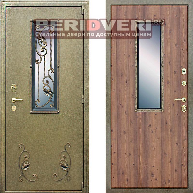Металлическая дверь АСД с окном и ковкой