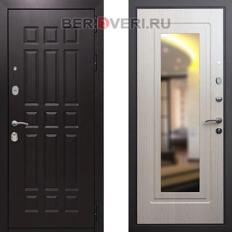 Металлическая дверь REX 8 Зеркало Беленый дуб