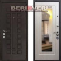 Металлическая дверь REX 4A Зеркало Беленый дуб